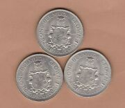 Three Bermuda 1964 50 Silver One Crowns In Near Mint Condition
