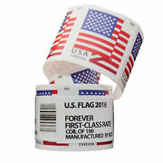 Us American Forever Flag Stamps 2018 100 Count Roll Coil Sealed -free Shipping