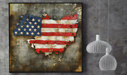 American Flag 3d Collage Dormitory Art Artwork Hand Made Painting Sculpture