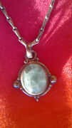 Vintage Indian Silver Pendant With Gemstone And Necklace Chainlet