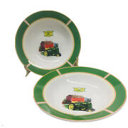 """John Deere Dishes 1935 Model B Tractor Soup Salad Gibson Set 2 Bowls 9"""" Replace"""