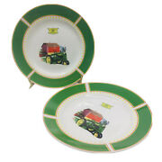 """John Deere Dishes 1935 Model B Tractor 8.625"""" By Gibson Set Of 2 Salad Plates"""
