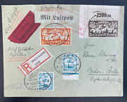 1923 Danzig Early Airmail Express Cover To Baden Germany Inflation Rate Stamp