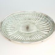 Leonard Silverplate Vented Footed Oval Serving Tray Platter W/ Glass Inset