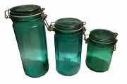 """Set 3 Vintage Canister Jar Wire Bale Green Paneled Glass 10"""" 8"""" 6"""" Spaghetti"""