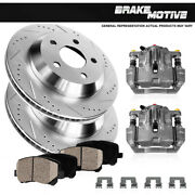 Rear Brake Calipers And Rotors + Pads For 2007 2008 2009 - 2015 Sequoia Tundra