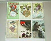 Antique Valentine's Day Greetings Postcards Set Of 6 Love Hearts Cupid Blank