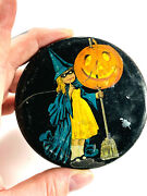 1920and039s Vtg Tin Litho Lid Only Girl W/ Broom Pumpkin Broom Candy Container