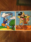 2 Vintage Playskool Wood Puzzle Donald Duck/190-28 Mickey Mouse 190-23 9 Pcs