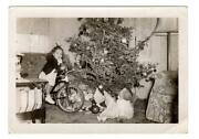 Christmas Tree Children Toys Baby Doll Tricycle Bike Antique Photograph Vintage