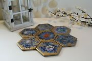 Abstract Art Gold And Blue Galaxy Handmade Coasters Set Of 7, Alcohol Ink On Tile