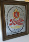 Rarevintage Strohs Beer Lighted Sign Bar Advertisement 1980 Mirrored