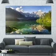 Designart And039green Mountain Lake In The Alpsand039 Modern Landscpae Small