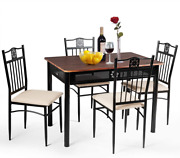 5 Piece Dining Room Set Table And 4 Chairs Vintage Retro Wood Top Metal Frame