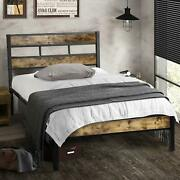 Vintage Style Twin Size Kid Metal Platform Bed Frame With Wooden Headboard