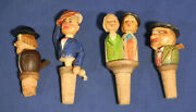 4 Vintage Antique Wooden Anri Figural Mechanical Moveable Cork Bottle Stoppers