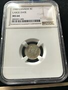 1900 Round Oo Ngc Graded Canadian 5 Cent Ms-64