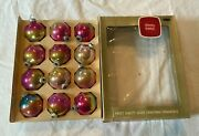 12 Vintage Shiny Brite Mercury Glass Christmas Ornaments Ombre Pink Gold Blue