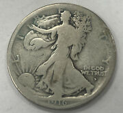 1916-d U.s. Walking Liberty Half Dollar 50 Cent Denver Mint