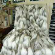 Thomas Collection Ivory Beige Gray Fox Faux Fur Throw