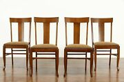 Set Of 4 Arts And Crafts Mission Oak Antique Craftsman Dining / Game Chairs 37400