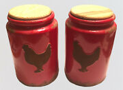 """Pair Spring Shop Ceramic 9"""" Red Rooster Canister Cookie Jar Farmhouse Rustic"""