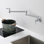 Kitchen Pot Filler Faucet Wall Mounted Folding Sink Double Joint Swing Arm
