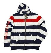 Polo Menand039s French Navy Multi Striped Mesh Americana Full Zip Hoodie