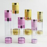 Pump Dispenser Bottle Travel Refillable Lotion Containers Gold Pink 200 X 15ml
