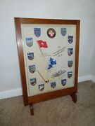 Antique Oak Fire Screen With Embroidered Switzerland Badges Around Skiing Scene