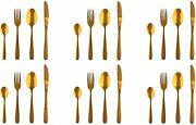 Cutlery Set, Modern Pieces Gold Stainless Steel Flatware For Daily Use, Party,24