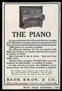 Behr Piano Upright Decorative Behr Bros., Ny 1907 Musical Instrument Antique Ad