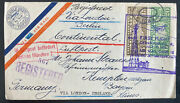 1928 Cedar Rapids Ia Usa First Continental Flight Airmail Cover To Germany