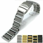 Screw Pins H-link Milanese Mesh Watch Band Solid Clasp Bracelet Wrist Strap