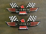 Ford Crossed Flag Fender Emblems Red Mustang Fairlane Galaxie Falcon 1963 1964 +
