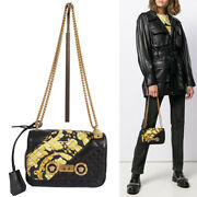 New 2195 Versace Black And Yellow Barocco Quilted Leather Medusa Chain Strap Bag