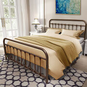 Brown Vintage Metal Bed Frame Platform With Headboard And Footboard Queen Size