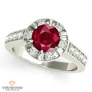 1.45 Ct. Natural Ruby Ring With 0.75 Ctw. Bar Set Diamond Halo 14k White Gold