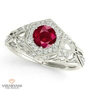 1.35 Ct. Natural Ruby Ring With 0.35 Ctw. Diamond Halo Platinum 950
