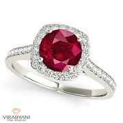1.45 Ct. Natural Ruby Ring With 0.35 Ctw. Diamond Cushion Halo 14k White Gold