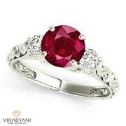 1.35 Ct. Natural Ruby Ring With 0.25 Ctw. Side Accent Diamonds 14k White Gold
