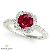 1.45 Ct. Natural Ruby Ring With 0.25 Ctw. Diamond Cushion Halo 14k White Gold