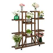 Wooden Plant Stand 6 Tiers Patio Porch Rolling Wheels Home Dandeacutecor Flowers Shop
