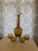 Vintage Venetian Blown Glass Amber Decanter And Cordial Glasses Set Of 4