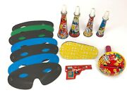 7 Tin Litho Toy Noisemakers And 7 Paper Masks Vtg Party Supplies Horns Whistle