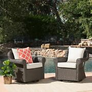 Amaya Cushioned Wicker Outdoor Rocking Chairs Set Of 2 By Brown/beige 2-piece