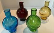 Set Of 4 Wheaton Glass Fire Extinguisher Eagle Bottles - Yellow Red Blue Green