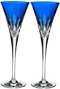 Waterford Crystal Lismore Pops Cobalt Blue Champagne Flute Pair 40019531 New
