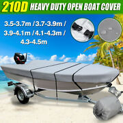 11.5-14.8and039and039 Waterproof 210d Heavy Duty Boat Cover Trailerable Fishing Runabouts