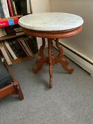 Vintage Solid Maple Oval Table W/marble Top In Excellent Condition No Shipping L